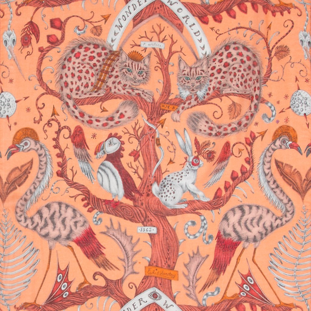 A detailed close up of the orange modal cashmere in the Orange Wonder World scarf part of Emma J Shipleys new SS20 scarf range