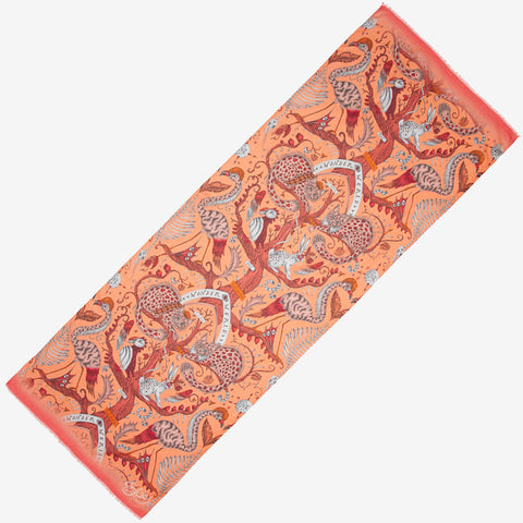 The brand new style of scarf in Wonder World Orange is the perfect spring scarf to add to your wardrobe this season, featuring cats, birds and tree trunks all inspired by the Scottish Highlands, designed by Emma J Shipley as part of her SS20 collection