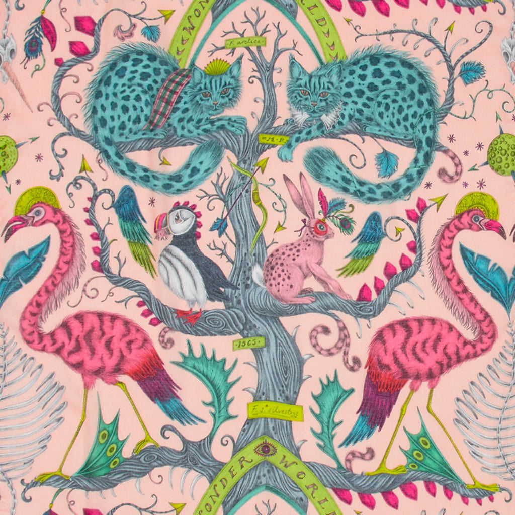 A detailed close up of the pink modal cashmere in the Orange Wonder World scarf part of Emma J Shipleys new SS20 scarf range, showing the cats, flamingos and hare