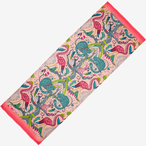 The brand new style of scarf in Wonder World Pink is the perfect spring scarf to add to your wardrobe this season, featuring cats, birds and tree trunks all inspired by the Scottish Highlands, designed by Emma J Shipley as part of her SS20 collection
