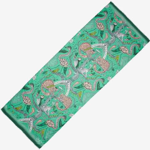The brand new style of scarf in Wonder World Green is the perfect spring scarf to add to your wardrobe this season, featuring cats, birds and tree trunks all inspired by the Scottish Highlands, designed by Emma J Shipley as part of her SS20 collection
