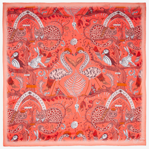 Designed by Emma J Shipley, the Wonder World print goes beautifully on the new Silk Chiffon Scarf in Orange as part of her new SS20 Collection, featuring leopard spotted cats, puffin birds and tall tree trunks.
