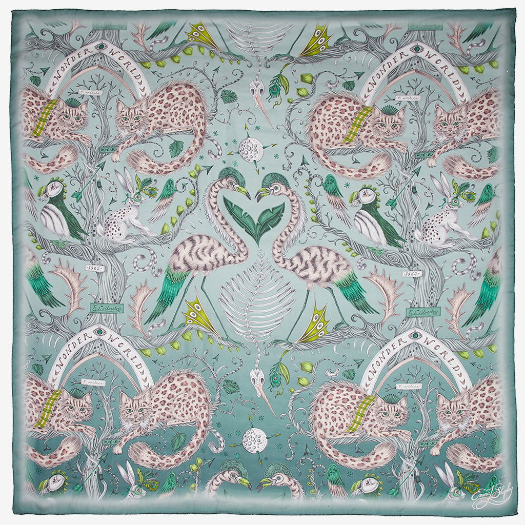 Designed by Emma J Shipley, the Wonder World print goes beautifully on the new Green Silk Chiffon Scarf as part of her new SS20 Collection, featuring leopard spotted cats, puffin birds and tall tree trunks.