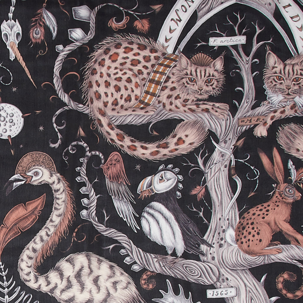 A close up of the Silk Chiffon scarf with the Wonder World print on in leopard black. Showing the details of the cats and birds.
