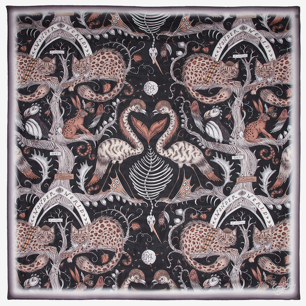 Designed by Emma J Shipley, the Wonder World print goes beautifully on the new Silk Chiffon Scarf as part of her new SS20 Collection, featuring leopard spotted cats, puffin birds and tall tree trunks.