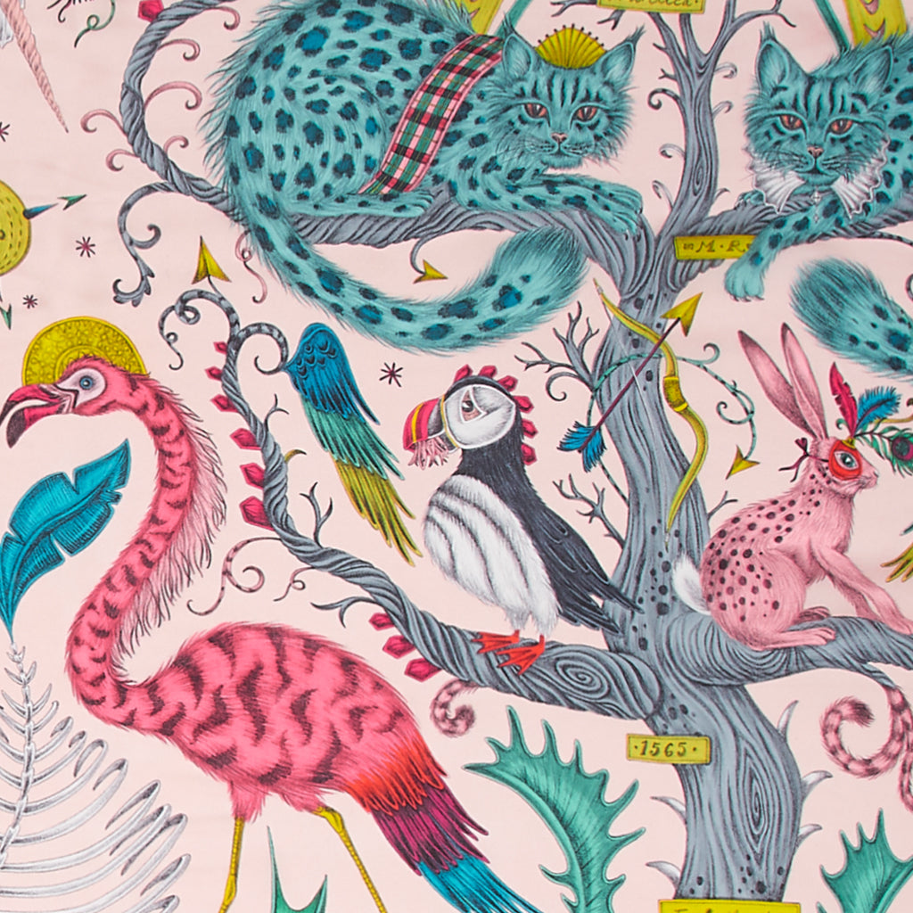 A close up of the Silk Chiffon scarf with the Pink Wonder World print on in leopard black. Showing the details of the cats and birds.