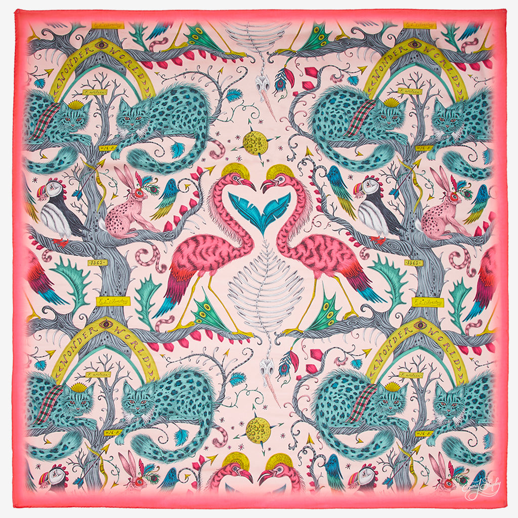 Designed by Emma J Shipley, the Pink Wonder World print goes beautifully on the new Silk Chiffon Scarf as part of her new SS20 Collection, featuring leopard spotted cats, puffin birds and tall tree trunks.
