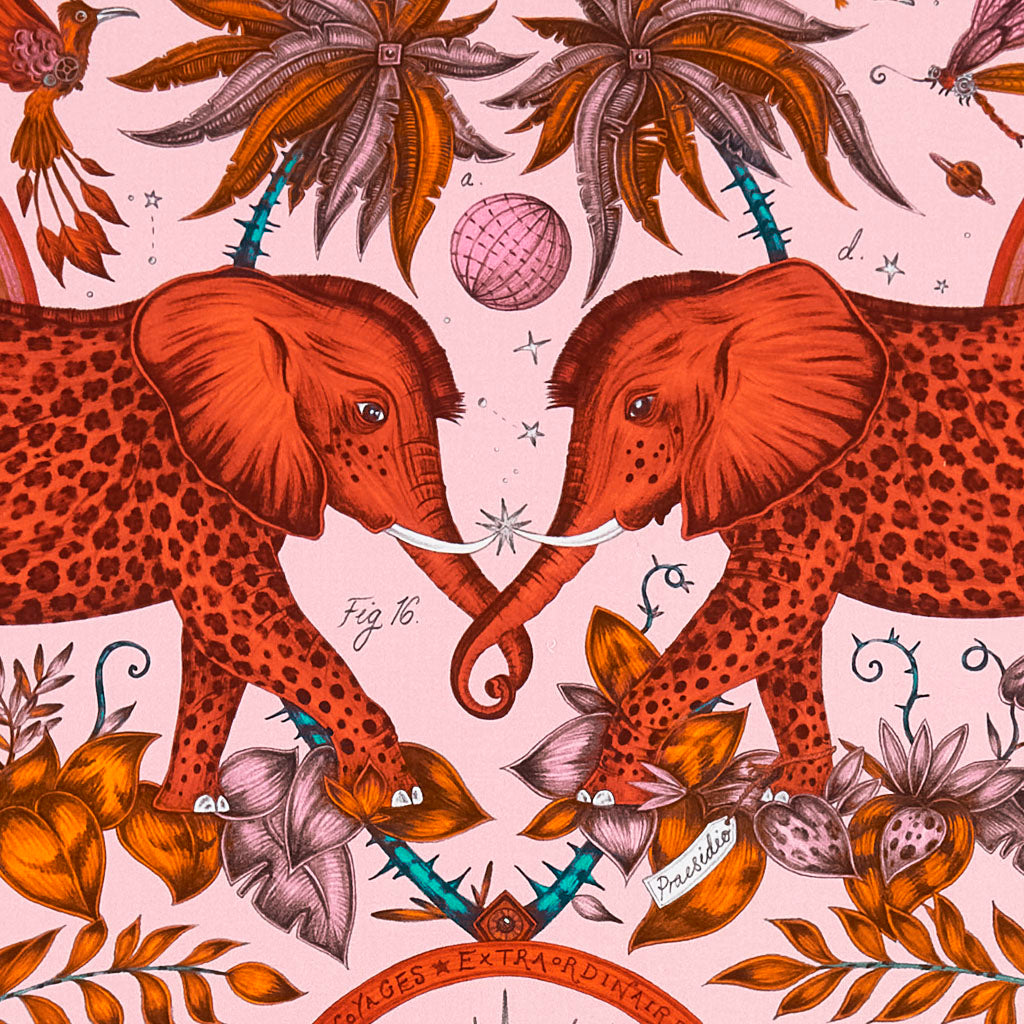 The magical customer favourite Zambezi in Cotton Satin Designed by Emma J Shipley and made by Clarke & Clarke, featuring two intertwined Elephants above rainbows and under two palm trees as well as a gazelle giving an African inspired look to the perfect fabric for curtain drapery, chair upholstery and lots more
