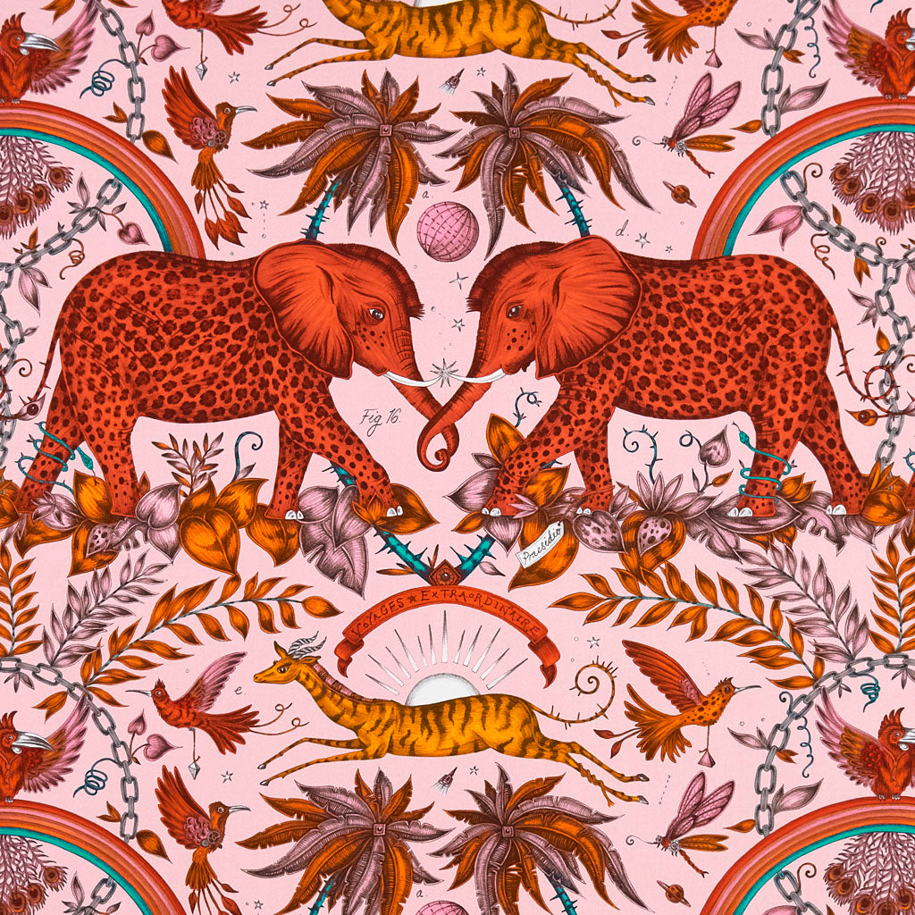 A better look at the Orange Zambezi Cotton Satin, featuring Elephants and Rainbows by Emma J Shipley. The perfect Jungle addition to any room it's the perfect fabric for chair, curtains and much more