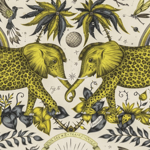 The Stunning Zambezi Linen Fabric in Gold from Emma J Shipley's Wilderie Collection made in collaboration with Clarke and Clarke, injecting exotic animals and bold colour into you home interior.