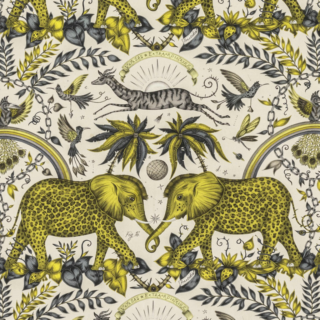 An overall view of the Zambezi Print in Gold, printed onto linen for the new Wilderie collection done by Emma J Shipley with Clarke & Clarke. This fabric is perfect for curtains, chair and footstool upholstery and even covering a sofa