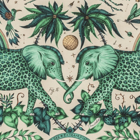 The Stunning Zambezi Linen Fabric in Turquoise from Emma J Shipley's Wilderie Collection made in collaboration with Clarke and Clarke, injecting exotic animals and bold colour into you home interior.