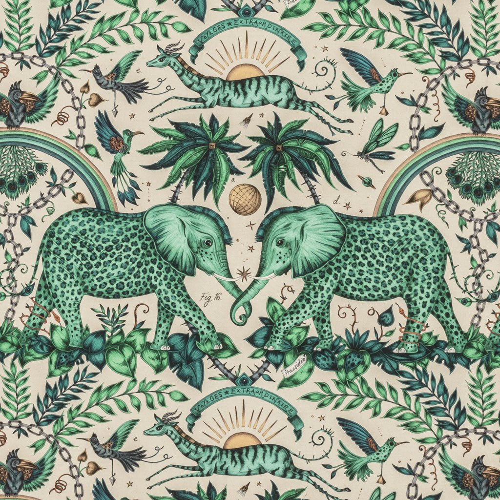 An overall view of the Zambezi Print in Turquoise, printed onto linen for the new Wilderie collection done by Emma J Shipley with Clarke & Clarke. The perfect animal themed print that really pops with colour and detail, this fabric is perfect for upholstery for chairs and footstools, blinds, curtains and many other home furnishing projects