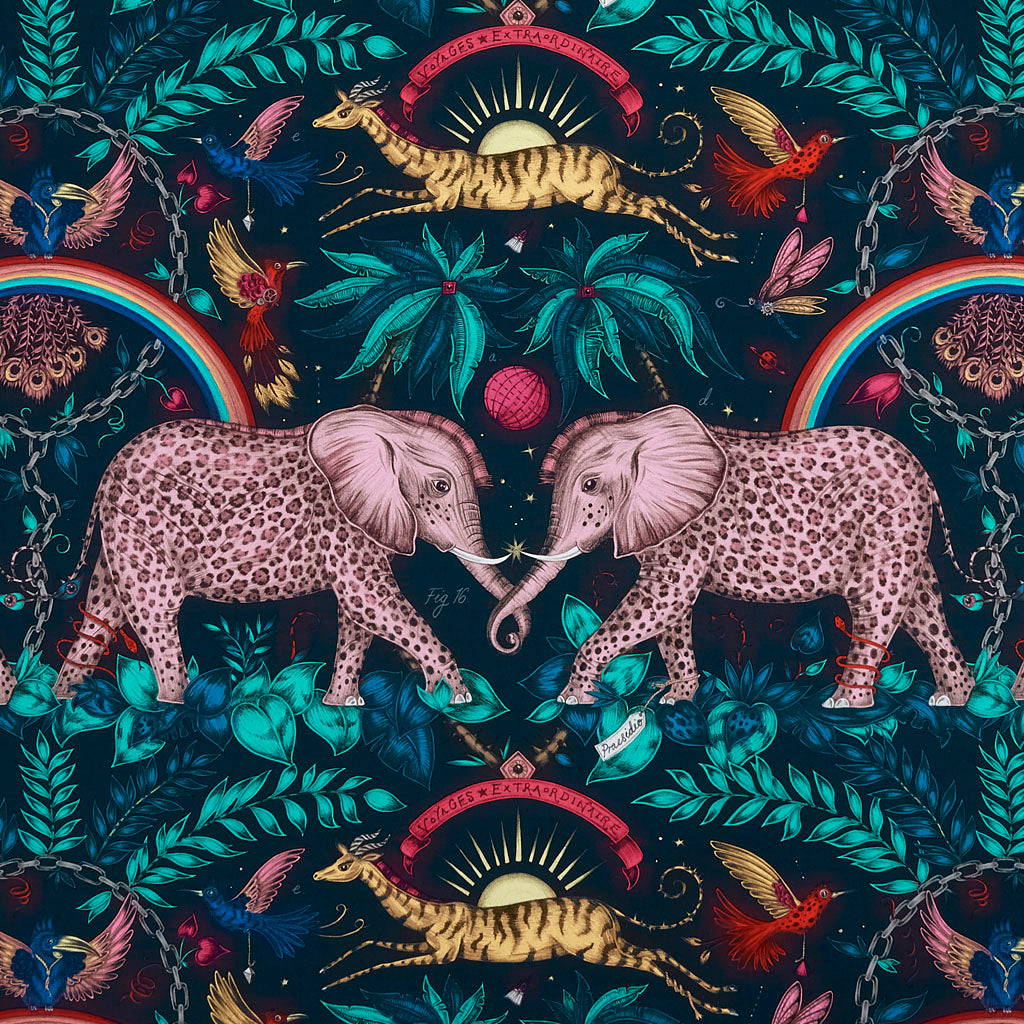 An Overall View of the Zambezi Pattern in Navy Part of the Wilderie collection by Emma J Shipley with Clarke & Clarke. The jungle animals really pop out on this colourful backdrop, the rainbows stand out and really create a beautiful landscape.