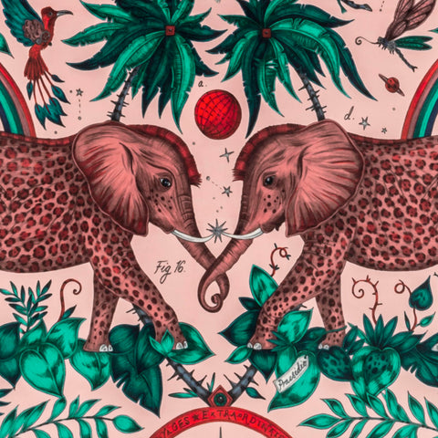The Stunning Pink Zambezi Velvet Fabric from Emma J Shipley's Wilderie Collection made in collaboration with Clarke and Clarke, injecting exotic animals and bold colour into you home interior.