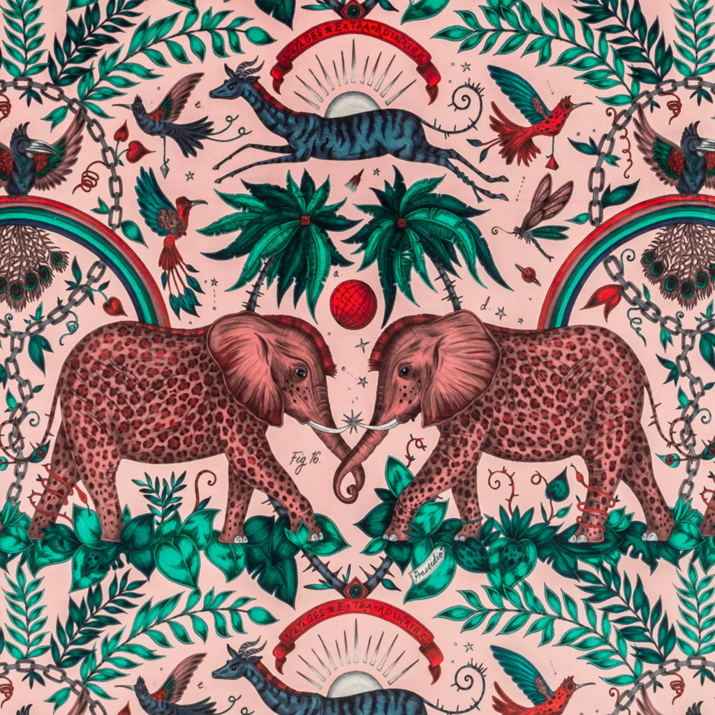 An overall view of the Zambezi Print in Pink, printed onto Velvet for the new Wilderie collection done by Emma J Shipley with Clarke & Clarke