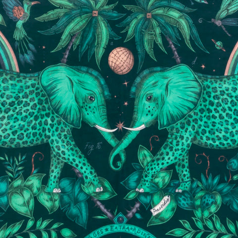 The Stunning Zambezi Velvet Fabric in Teal from Emma J Shipley's Wilderie Collection made in collaboration with Clarke and Clarke, injecting exotic animals and bold colour into you home interior.