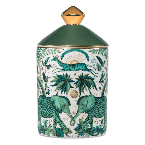 The Zambezi candle is a luxuriously designed and scented candle, with a scent of Vetiver & Damask Rose to coordinate with the intricate Zambezi design. The Elephants intertwined beneath the trees and leaping gazelle is a magical centre piece for any hall table, bedside or on your dining table - Designed by Emma J Shipley and scent created by Bahoma