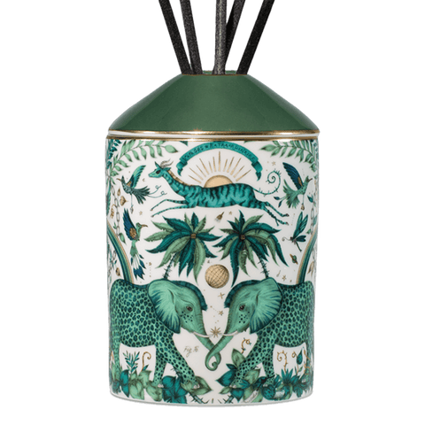 The Zambezi Diffuser is a luxuriously designed and scented oil diffuser, with a scent of Vetiver & Damask Rose to coordinate with the intricate Zambezi design. The Elephants intertwined on a magical background is a magical centre piece for any hall table, bedside or bathroom - Designed by Emma J Shipley and scent created by Bahoma