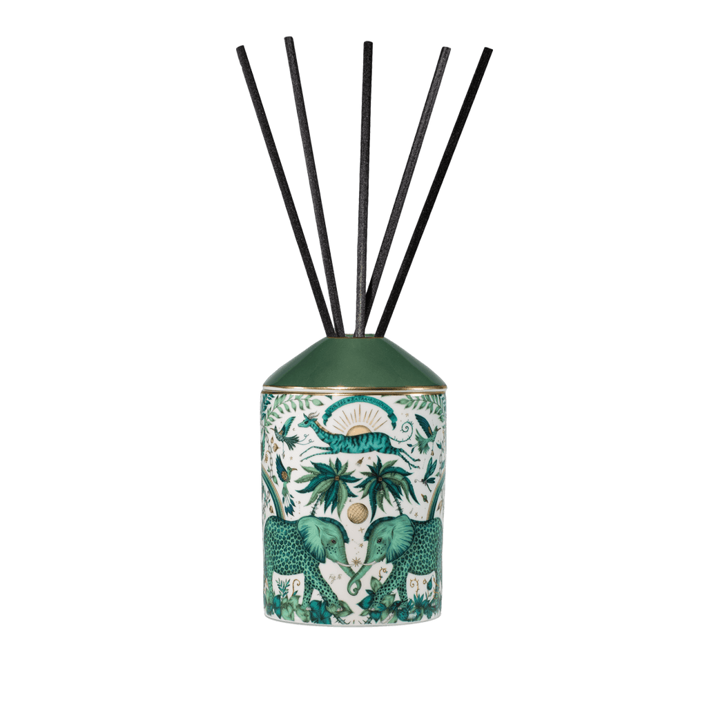 A Full look at the Zambezi design from the Emma J Shipley Diffuser collection - scented with Vetiver & Damask Rose, this Diffuser will fill your home with exotic and tropical scents that will transport you to a magical escape all in the comfort of your own home