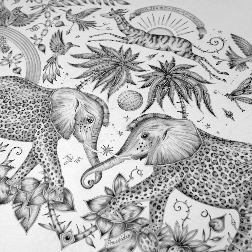 details from the original pencil drawing of the Zambizi design hand drawn by Emma J Shipley
