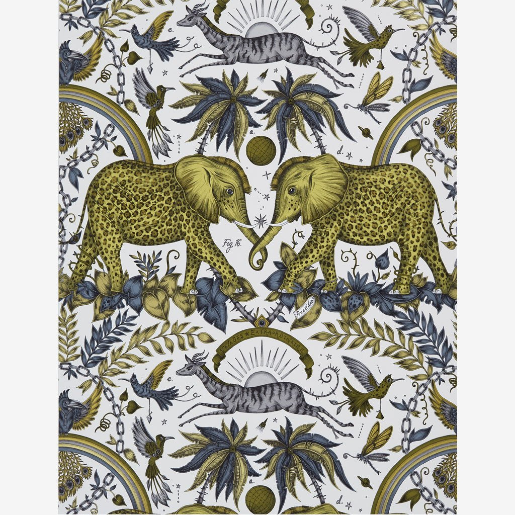 A full view of the Zambezi wallpaper print in Gold Yellow, designed by Emma J Shipley with Clarke & Clarke for the new Wilderie collection