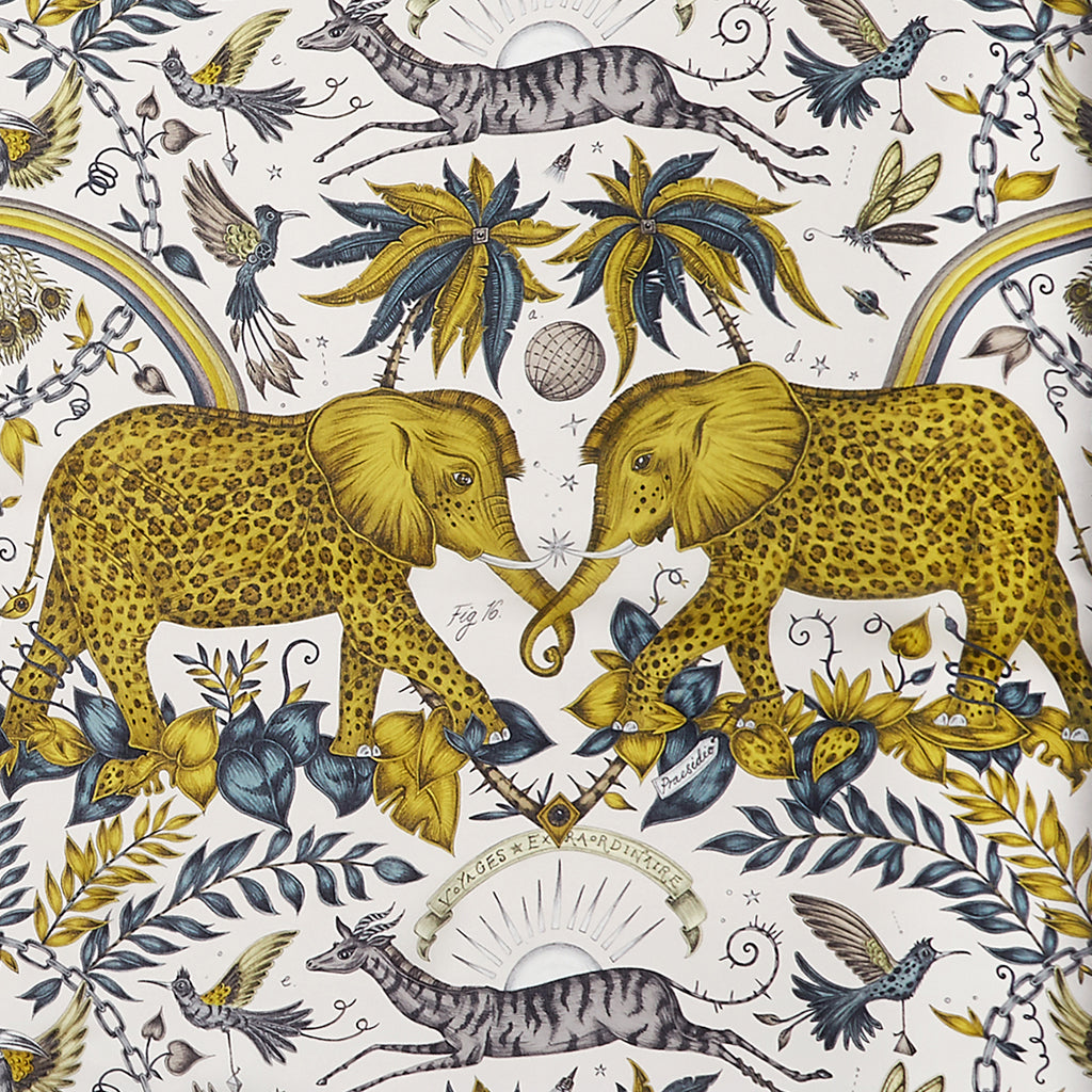 this close up image of Emma J Shipley's Zambezi design shows off the magical creatures, details inspired by the Jules Verne novels and the opulent yet soft tones of the gold design.