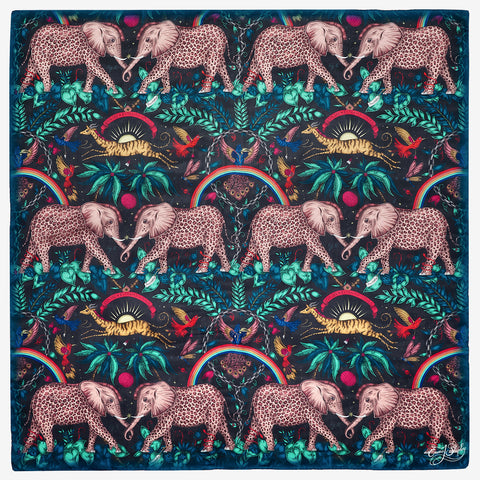 The Zambezi Silk Chiffon Scarf in stunning technicolour designed by Emma J Shipley is a luxurious silk scarf featuring an array of spotted elephants and other creatures inspired by an African adventure