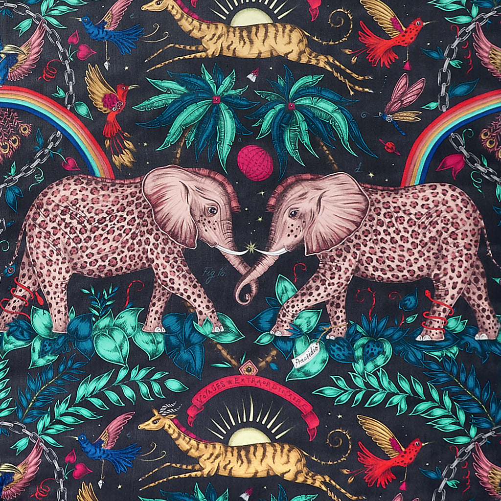 Take a closer look at the stunning detail of the spotted elephants in the Zambezi design by Emma J Shipley, featured here on the silk chiffon scarf in stunning multi colour navy