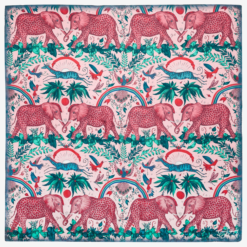 The spotted elephants of the Zambezi design feature on this luxurious pink Italian silk chiffon scarf designed by Emma J Shipley