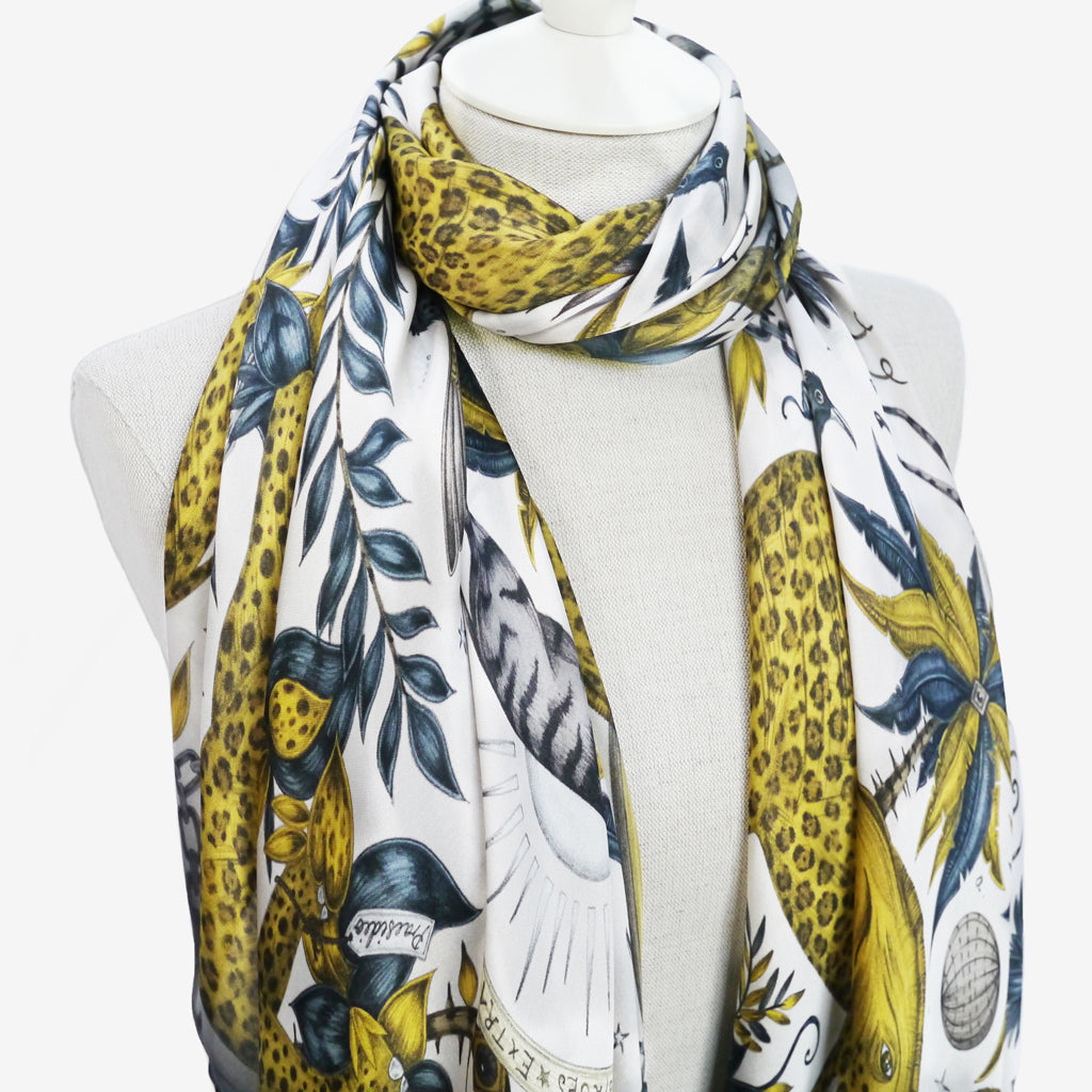 the close up details of this silk chiffon scarf highlight the subtle variation in tone and hue used to create such an opulent gold colourway for the Zambezi design