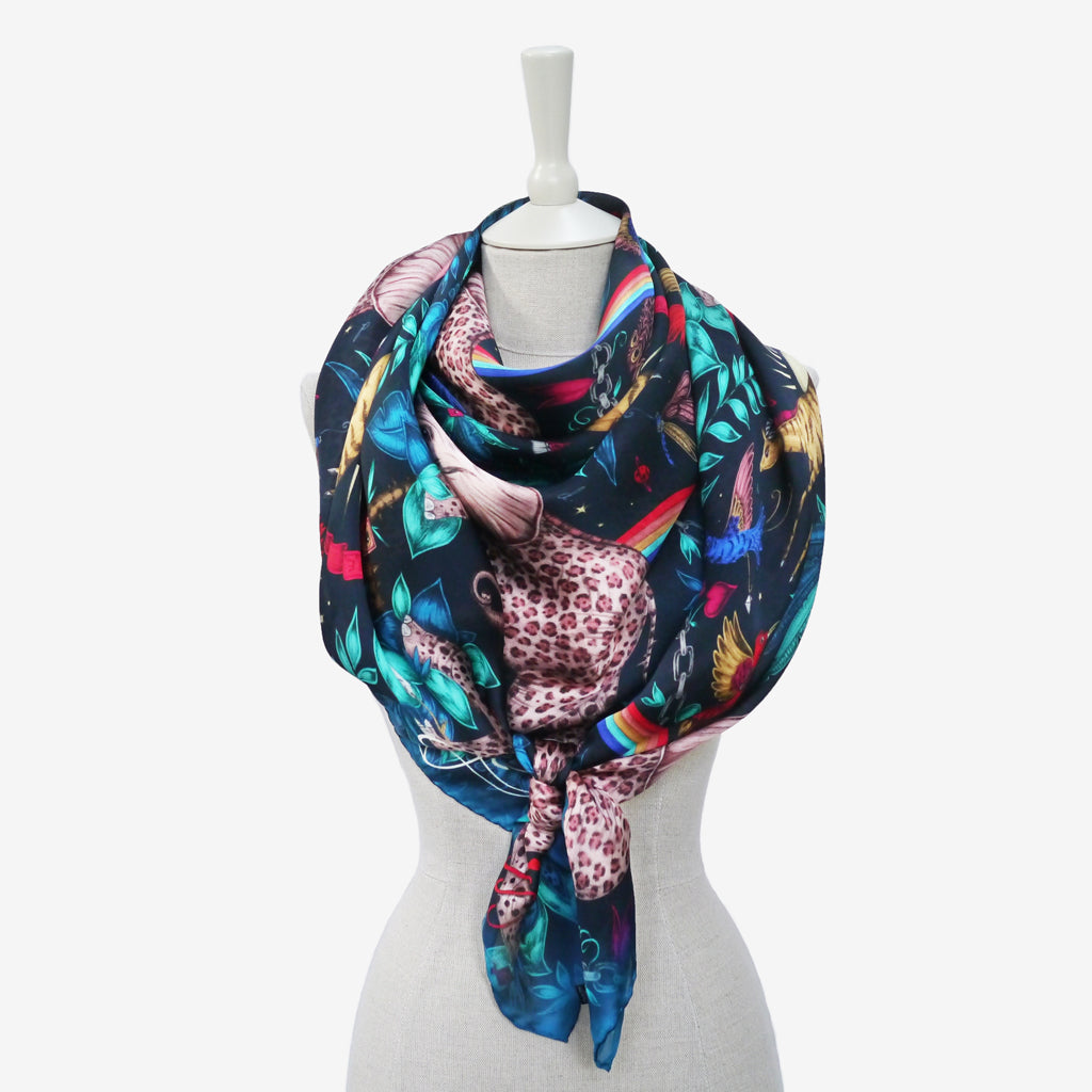 Take a look of an example of how to wear the stunning multicolour Zambezi scarf in a classic and cosy knotted wrap around style