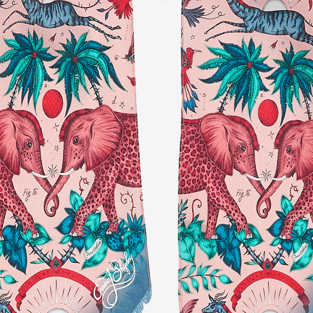 The glorious spotted elephants inspired by an African safari upon the silk skinny scarf designed by Emma J Shipley