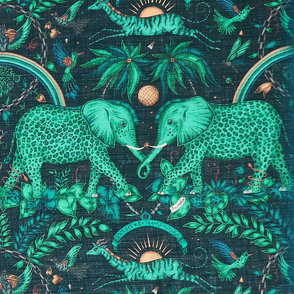 The spotted teal elephants of the Zambezi design, hand drawn by artist Emma J Shipley is inspired by a magical African safari adventure