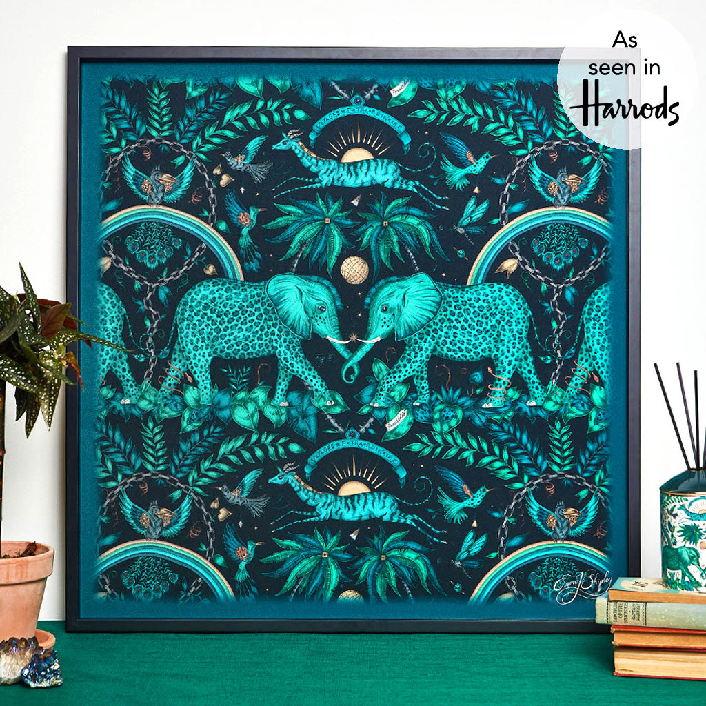 The Magical Emma J Shipley Framed Silk Artwork in the Teal Zambezi Print, discover the fantasy world of Emma J Shipley Prints