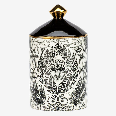 The Amazon candle is a luxuriously designed and scented candle, with a scent of Green Fig & Cedarwood to coordinate with the intricate Amazon design. The Jaguar nested in the leafy foliage in the monochrome black and white with striking gold details is a magical centre piece for any hall table, bedside or on your dining table - Designed by Emma J Shipley and scent created by Bahoma
