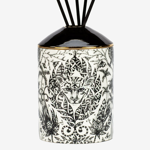 The Amazon Diffuser is a luxuriously designed and scented oil diffuser, with a scent of Green Fig and Cedarwood to coordinate with the intricate Amazon design. The Jaguar head nestled in the foliage us a magical centre piece for any hall table, bedside or bathroom - Designed by Emma J Shipley and scent created by Bahoma