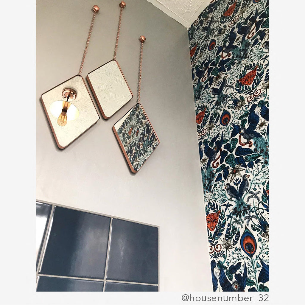 The Emma J Shipley Wallpaper can be used in any room at all, the bathroom is the perfect place to add the Amazon wallpaper in blue
