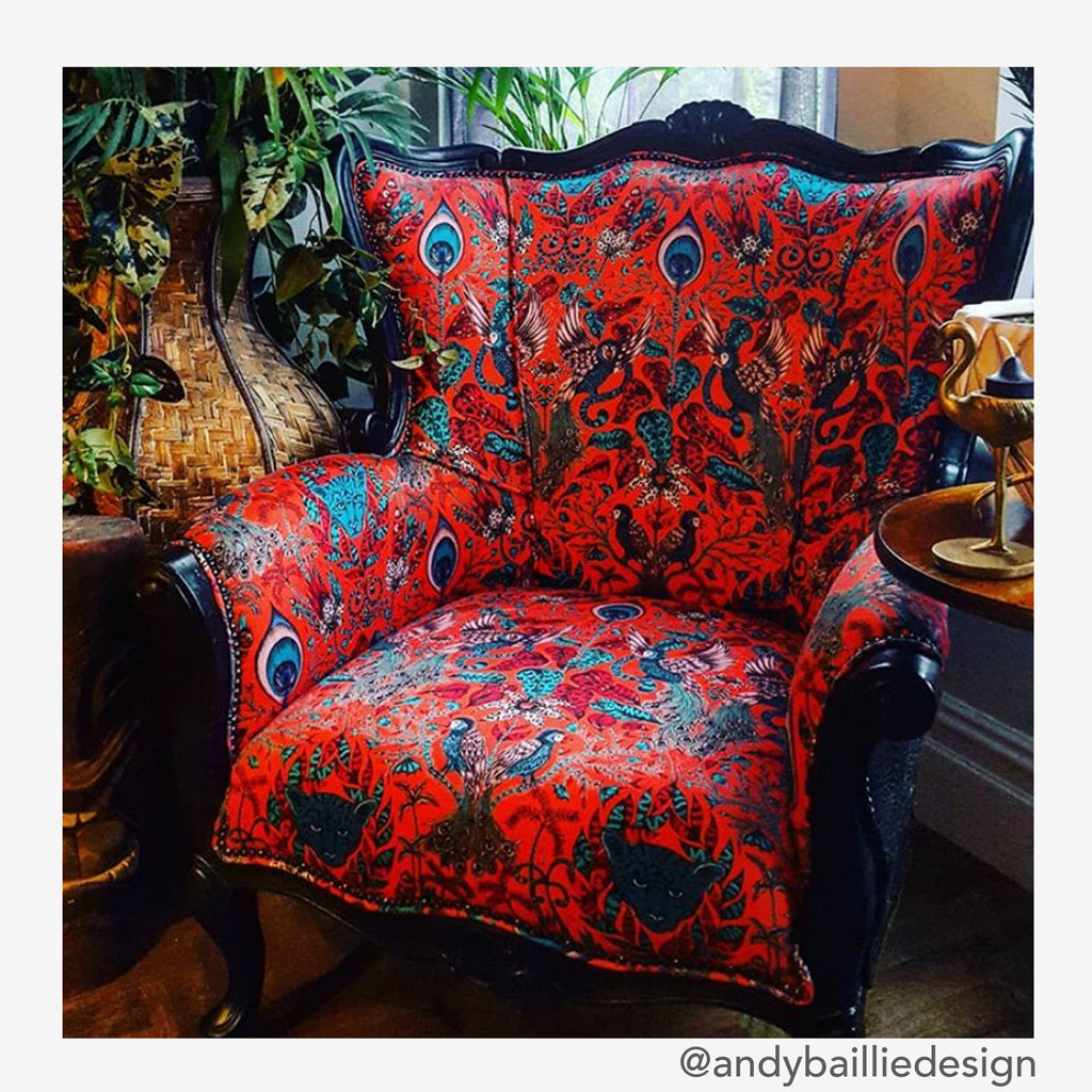 Emma J Shipley's Amazon Fabric has been used here to upholster an armchair