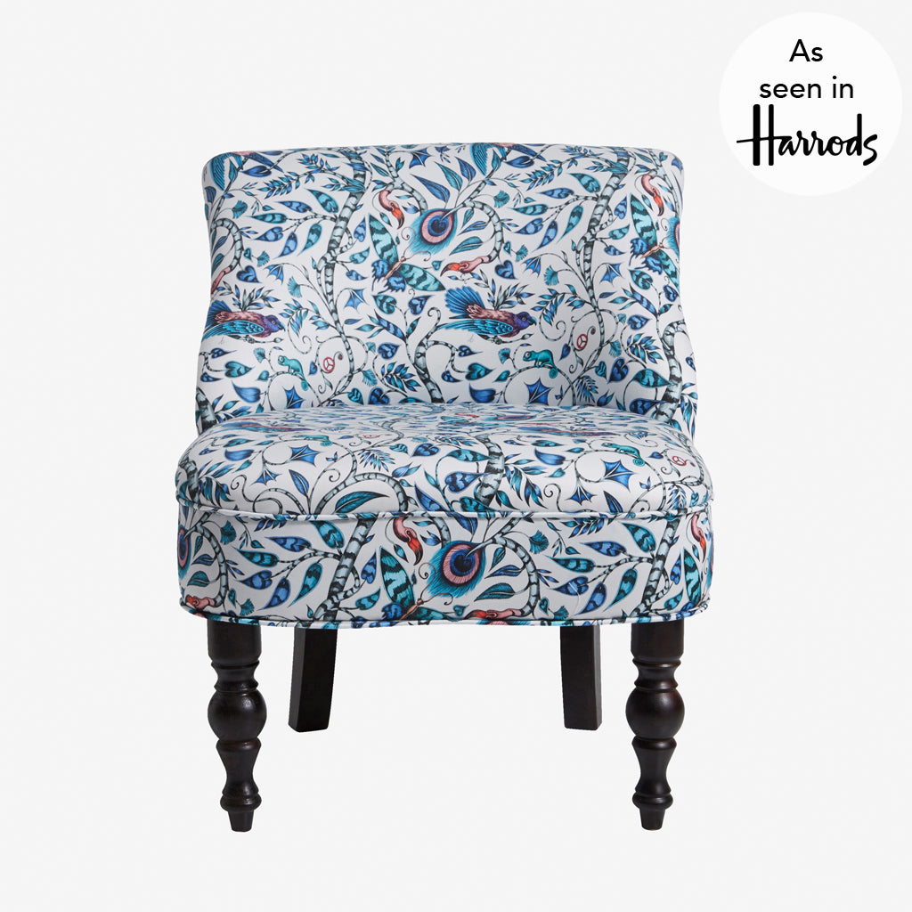 The Emma J Shipley and Clarke & Clarke Animalia fabric features on the Rousseau Langley Chair - a beautifully charming occasion chair