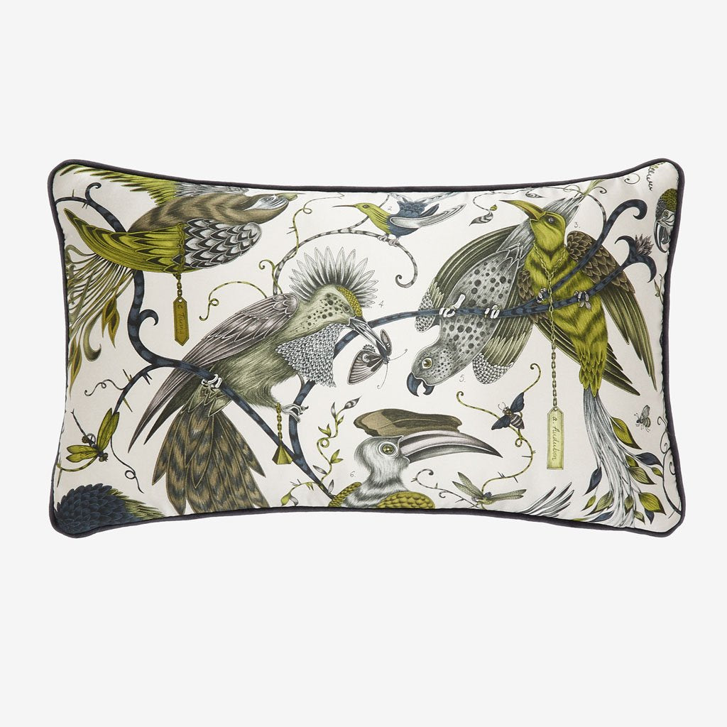 The Audubon Cushion from the Signature Cushion collection by Emma J Shipley depicts a beautiful hand-drawn scene showing an array of majestic birds in flight