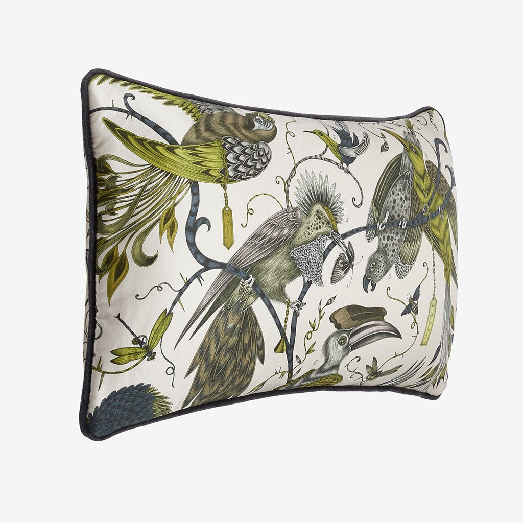Fantastical parrots and hornbills, perched on animalistic branches are printed onto luxurious silk and cotton blend to complete the look for the Audubon Bolster Cushion by Emma J Shipley