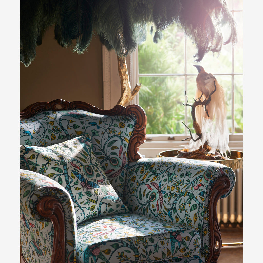The fantastical Rousseau cotton satin fabric designed by Emma J Shipley x Clarke & Clarke