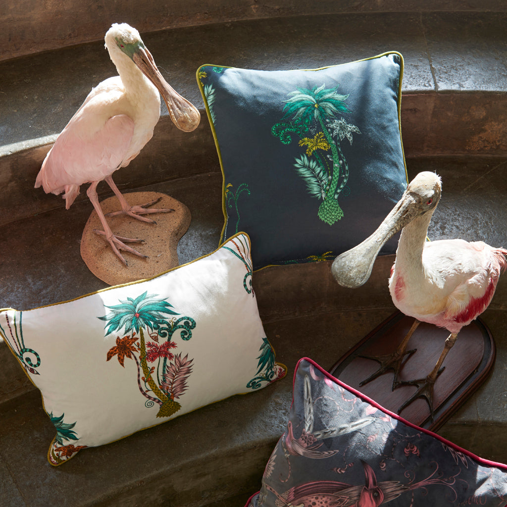 Jungle Palms fabric from the Animalia collaboration between Emma J Shipley and Clarke & Clarke transformed into cushions