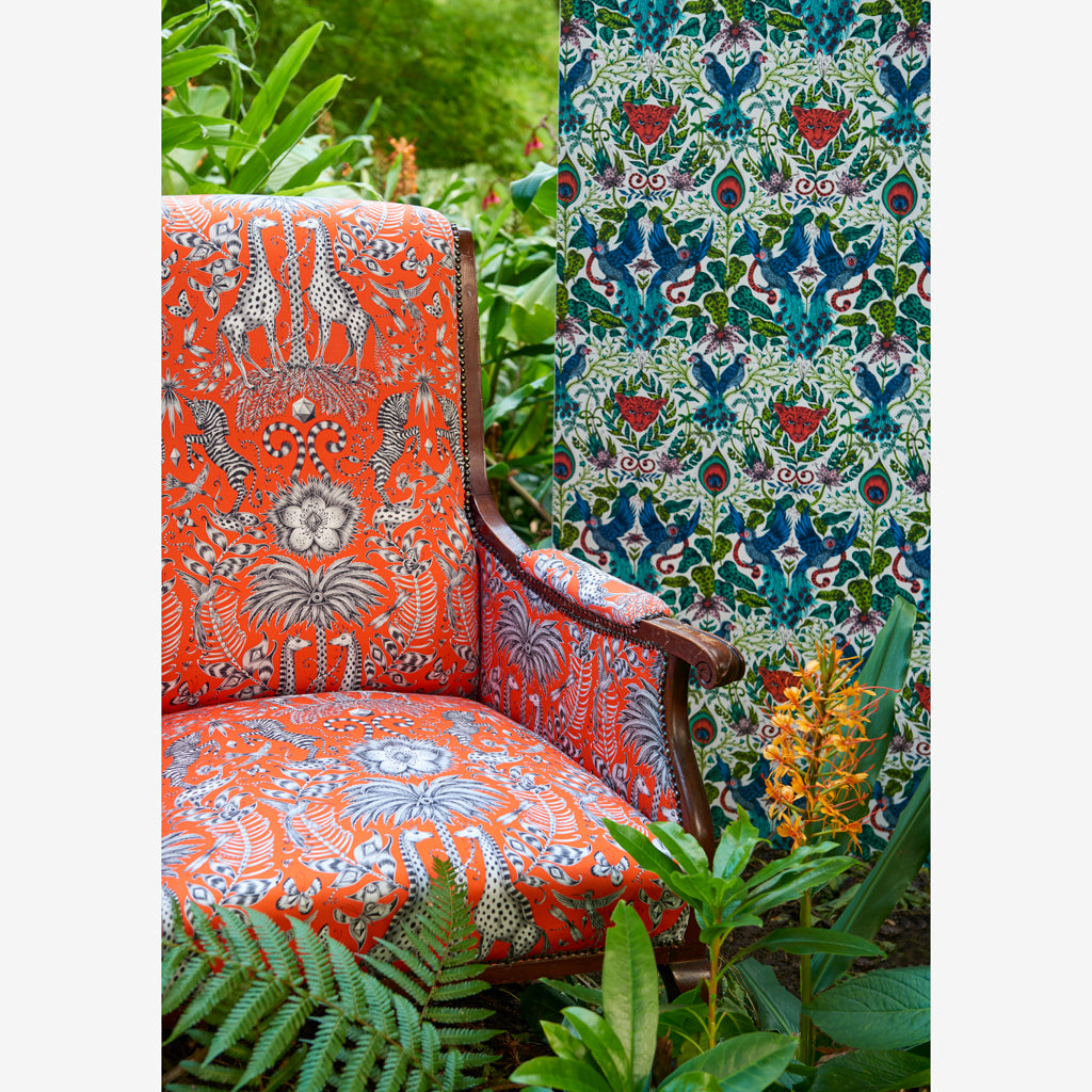 The Kruger fabric design featured in campaign imagery for the Animalia collection by Emma J Shipley x Clarke & Clarke