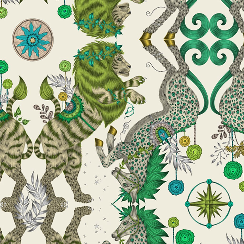 Close up of the Emma J Shipley illustrated Caspian placemat designed in collaboration with Jamida