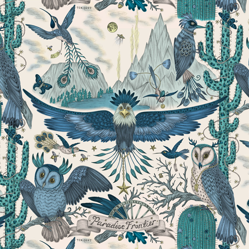 Close up of the Emma J Shipley illustrated Frontier placemat designed in collaboration with Jamida