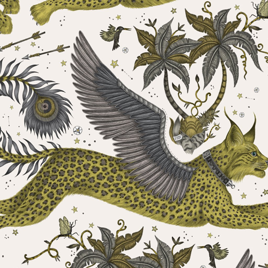 Close up of the Emma J Shipley illustrated Lynx placemat designed in collaboration with Jamida