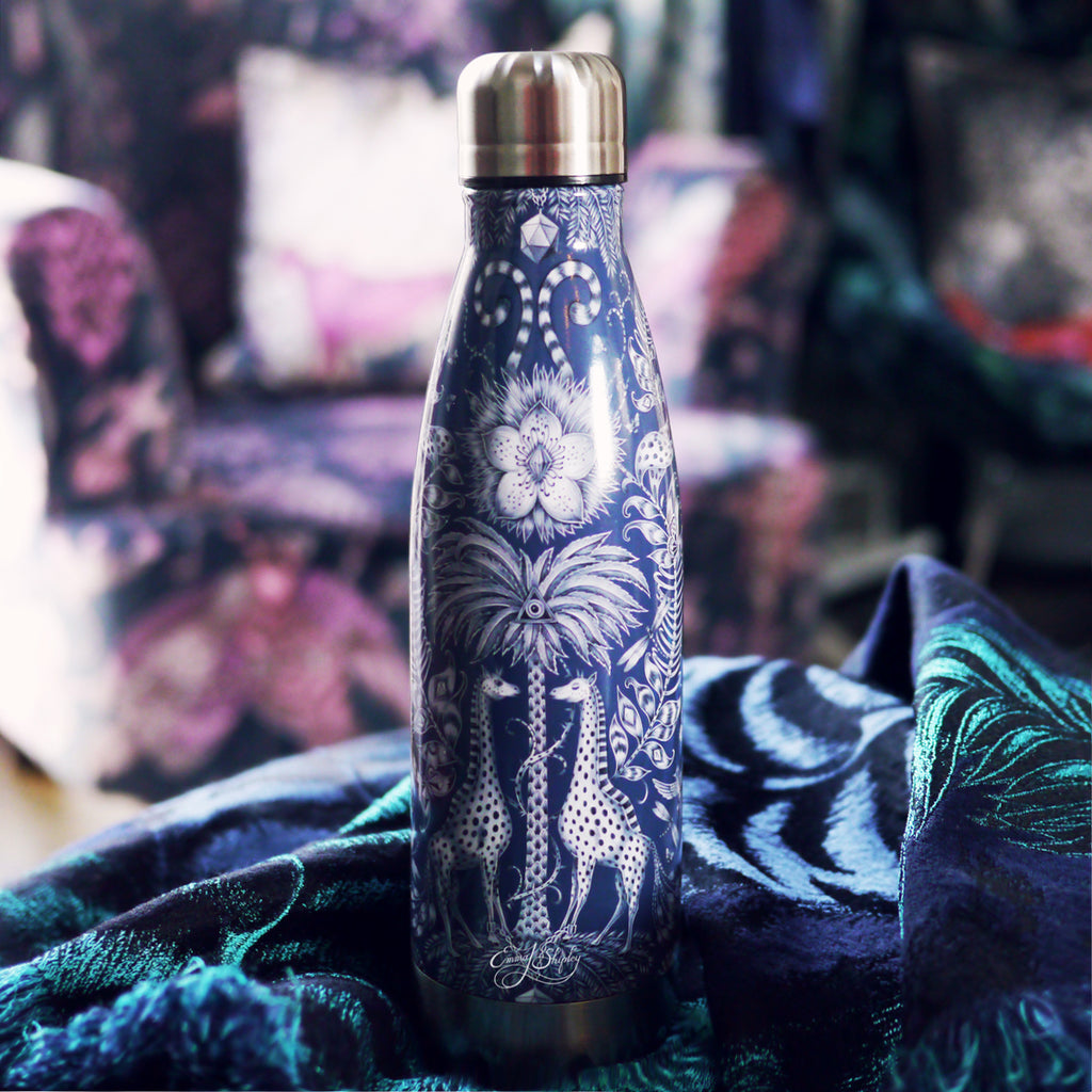 Tropical fantasy printed water bottle. Designed by Emma J Shipley, this reusable water bottle is a beautiful addition to make your lifestyle more sustainable