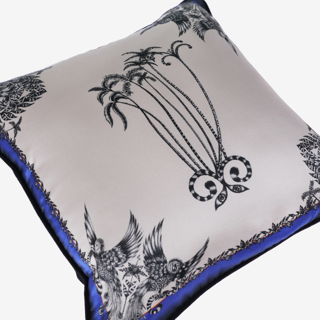 A closer look at the Amazon Palms Printed Cushion by luxury designer and illustrator Emma J Shipley